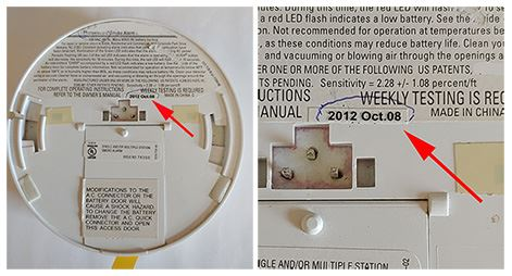 Image of the back of a smoke detector showing an example of a manufacturing date.